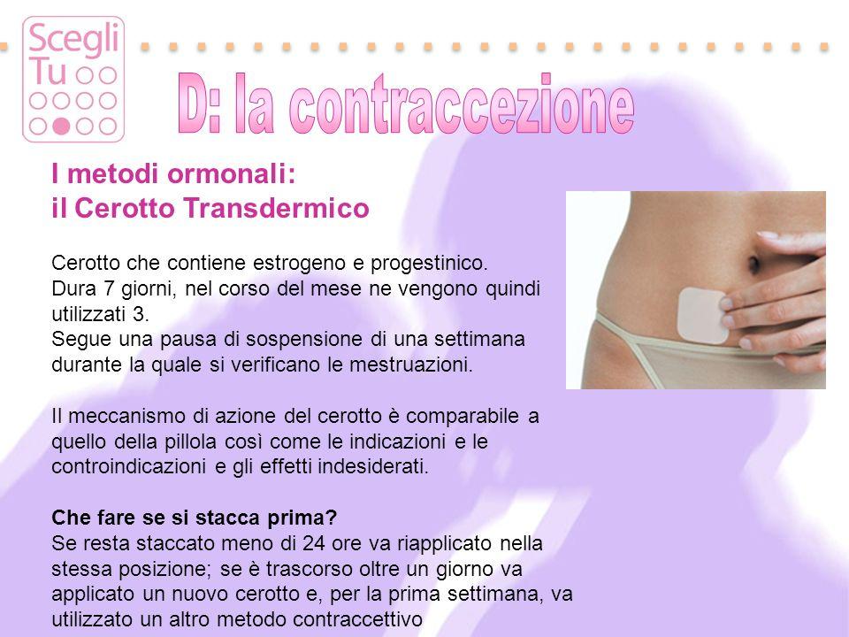 I metodi ormonali: il Cerotto Transdermico Cerotto che contiene estrogeno e progestinico. Dura 7 giorni, nel corso del mese ne vengono quindi utilizza