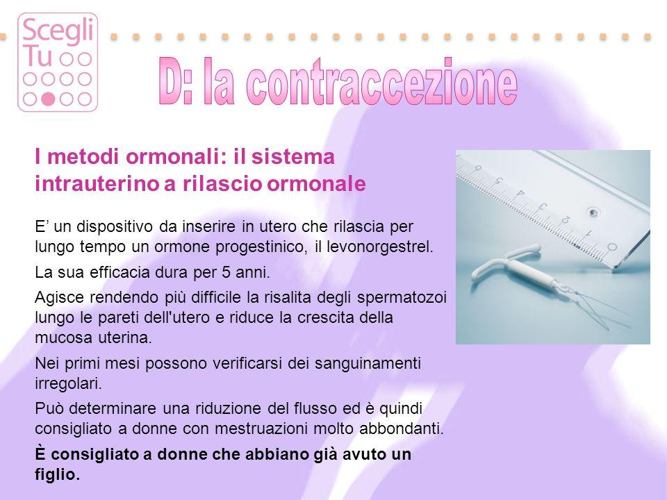 I metodi ormonali: il sistema intrauterino a rilascio ormonale E un dispositivo da inserire in utero che rilascia per lungo tempo un ormone progestini