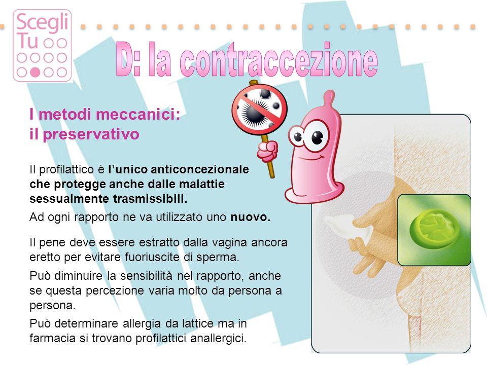 I metodi meccanici: il preservativo Il profilattico è lunico anticoncezionale che protegge anche dalle malattie sessualmente trasmissibili. Ad ogni ra