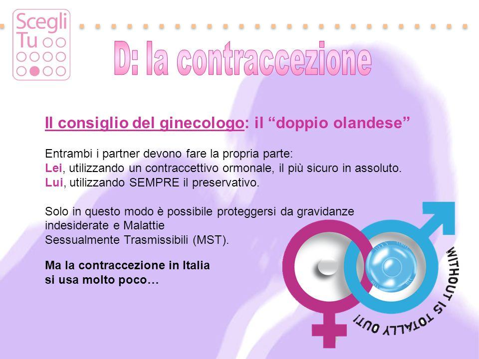 Il consiglio del ginecologo: il doppio olandese Entrambi i partner devono fare la propria parte: Lei, utilizzando un contraccettivo ormonale, il più s