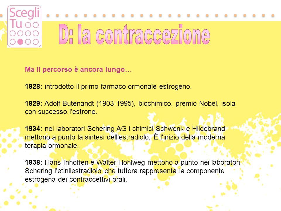 Ma il percorso è ancora lungo… 1928: introdotto il primo farmaco ormonale estrogeno. 1929: Adolf Butenandt (1903-1995), biochimico, premio Nobel, isol