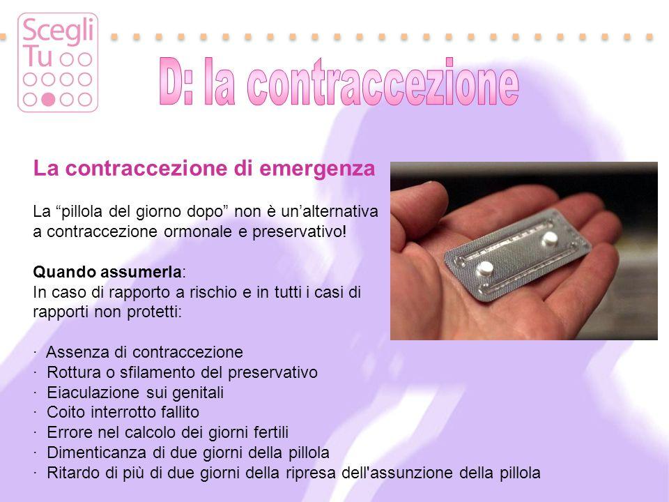La contraccezione di emergenza La pillola del giorno dopo non è unalternativa a contraccezione ormonale e preservativo! Quando assumerla: In caso di r