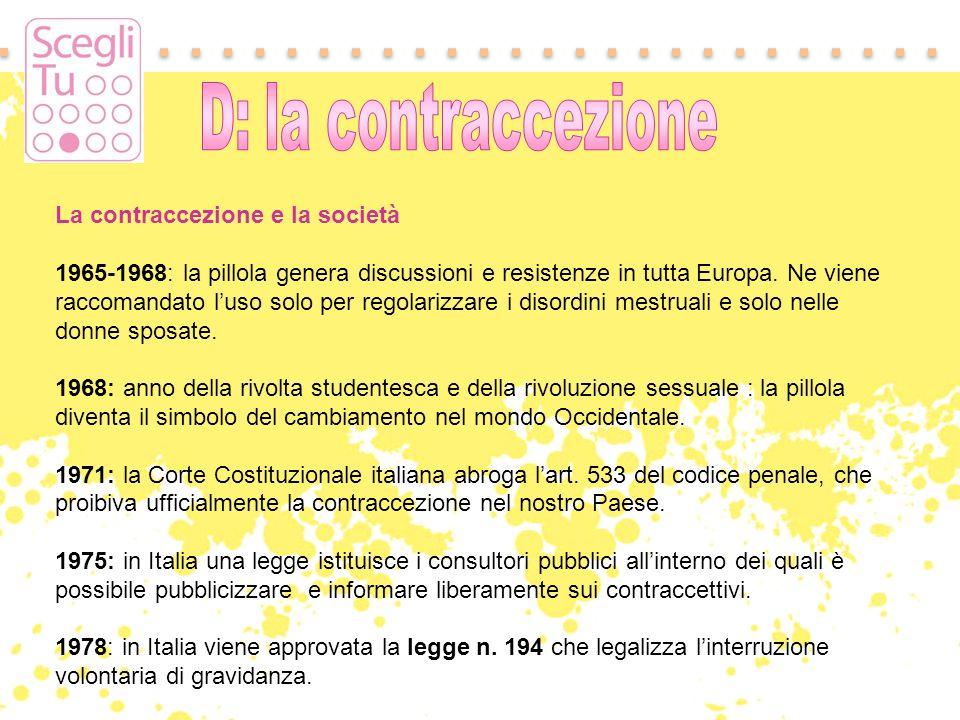 La contraccezione e la società 1965-1968: la pillola genera discussioni e resistenze in tutta Europa. Ne viene raccomandato luso solo per regolarizzar