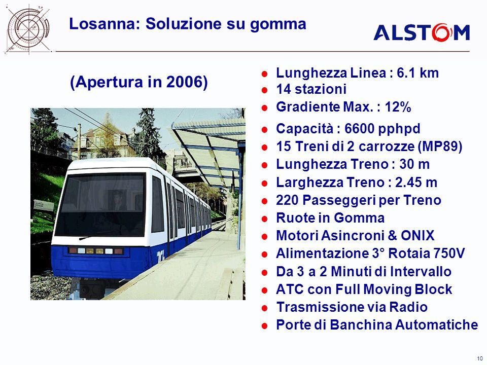 10 (Apertura in 2006) Lunghezza Linea : 6.1 km 14 stazioni Gradiente Max. : 12% Capacità : 6600 pphpd 15 Treni di 2 carrozze (MP89) Lunghezza Treno :