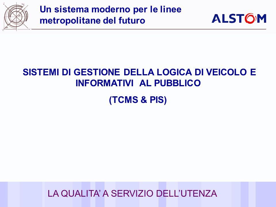 14 Un sistema moderno per le linee metropolitane del futuro SISTEMI DI GESTIONE DELLA LOGICA DI VEICOLO E INFORMATIVI AL PUBBLICO (TCMS & PIS) LA QUAL