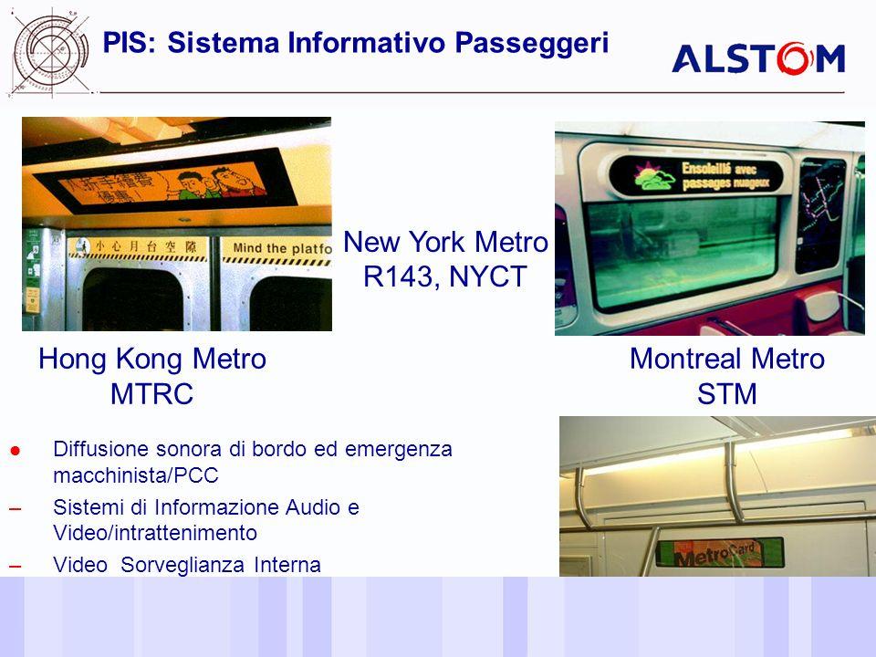 18 PIS: Sistema Informativo Passeggeri New York Metro R143, NYCT Hong Kong Metro MTRC Montreal Metro STM Diffusione sonora di bordo ed emergenza macchinista/PCC –Sistemi di Informazione Audio e Video/intrattenimento –Video Sorveglianza Interna