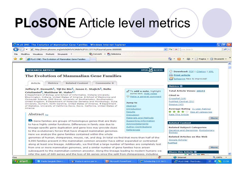 PLoSONE Article level metrics