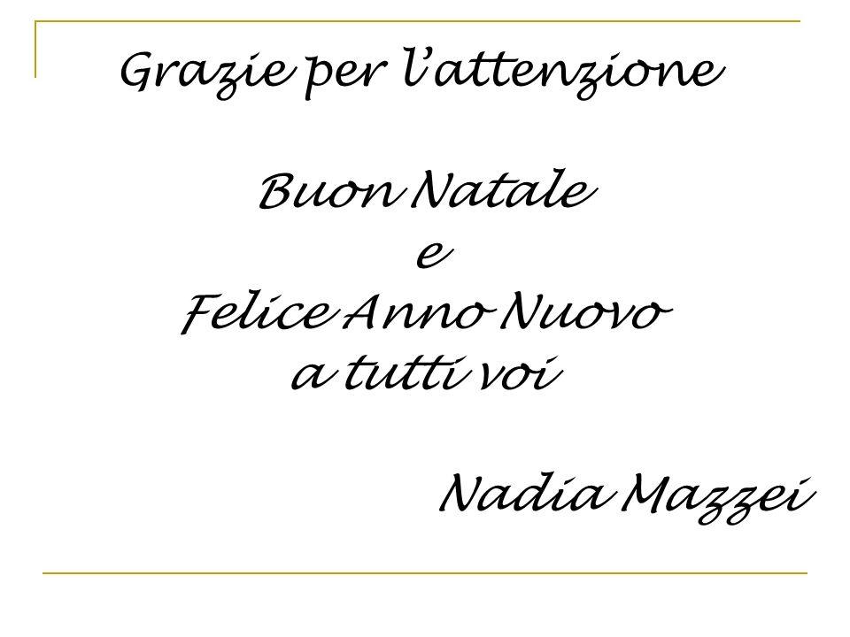 Grazie per lattenzione Buon Natale e Felice Anno Nuovo a tutti voi Nadia Mazzei