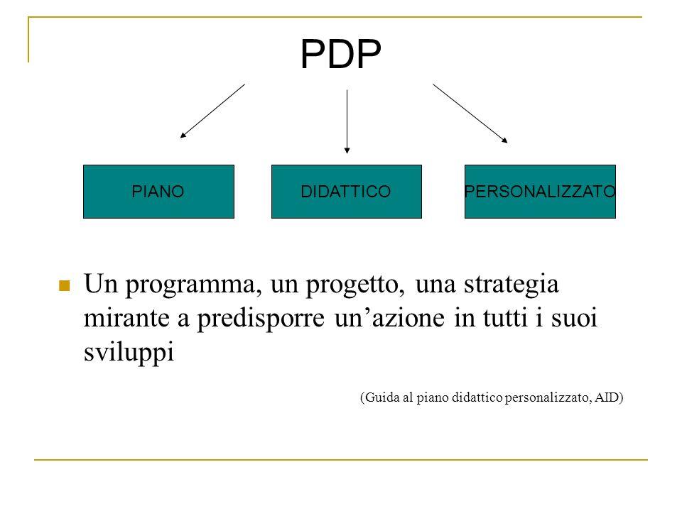 PDP Un programma, un progetto, una strategia mirante a predisporre unazione in tutti i suoi sviluppi (Guida al piano didattico personalizzato, AID) PI