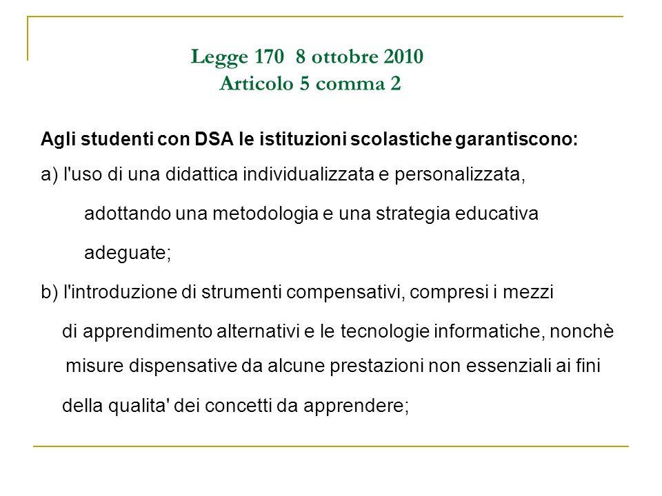 Legge 170 8 ottobre 2010 Articolo 5 comma 2 Agli studenti con DSA le istituzioni scolastiche garantiscono: a) l'uso di una didattica individualizzata