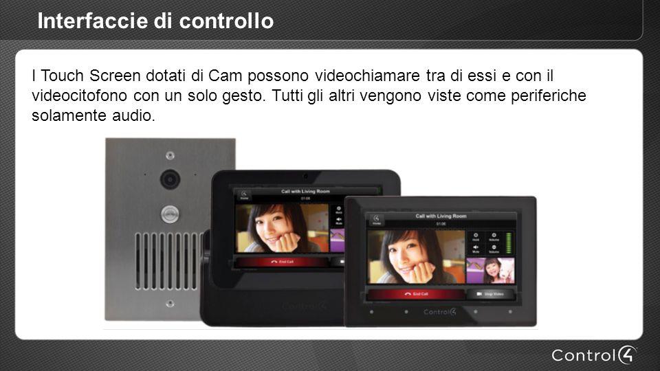 Interfaccie di controllo I Touch Screen dotati di Cam possono videochiamare tra di essi e con il videocitofono con un solo gesto. Tutti gli altri veng