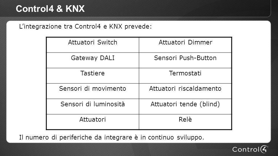 Control4 & KNX Lintegrazione tra Control4 e KNX prevede: Il numero di periferiche da integrare è in continuo sviluppo. Attuatori SwitchAttuatori Dimme