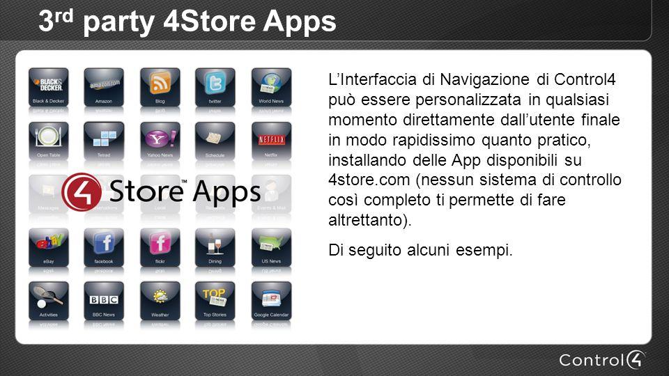 3 rd party 4Store Apps LInterfaccia di Navigazione di Control4 può essere personalizzata in qualsiasi momento direttamente dallutente finale in modo rapidissimo quanto pratico, installando delle App disponibili su 4store.com (nessun sistema di controllo così completo ti permette di fare altrettanto).