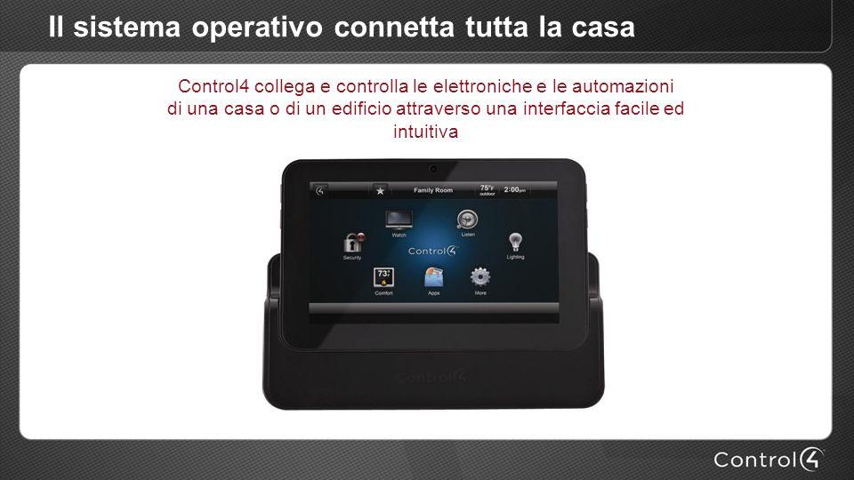 Il sistema operativo connetta tutta la casa Control4 collega e controlla le elettroniche e le automazioni di una casa o di un edificio attraverso una