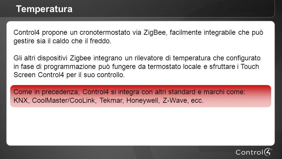 Temperatura Control4 propone un cronotermostato via ZigBee, facilmente integrabile che può gestire sia il caldo che il freddo.