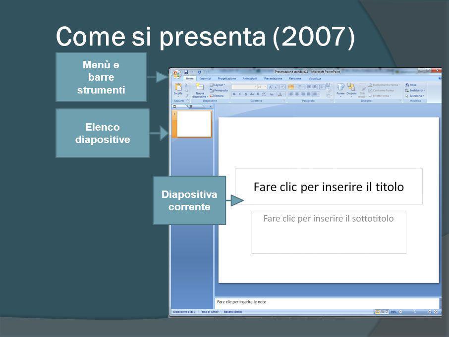 I diversi modi di vedere una presentazione Visualizzazione normale Visualizzazione sequenza diapositive Presentazione Pagina note Pulsanti in basso a sinistra Menù visualizza