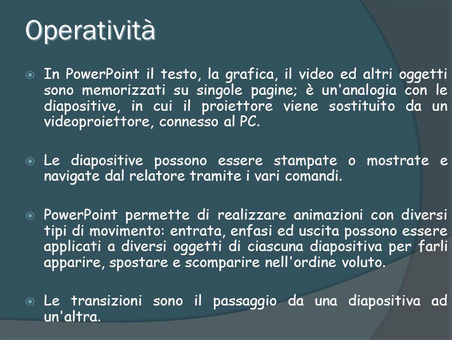 Tipi di file Le presentazioni possono essere salvate in vari formati: il predefinito.ppt (presentazione),.pps (PowerPoint Show).pot (modello).
