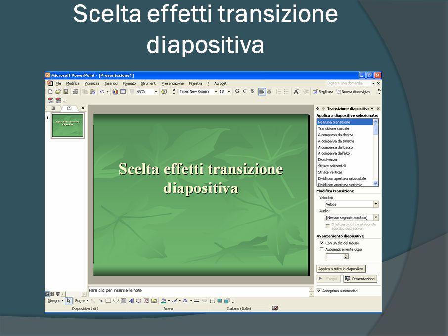 Effetti di transizione fra diapositive (2007) Menu Animazioni