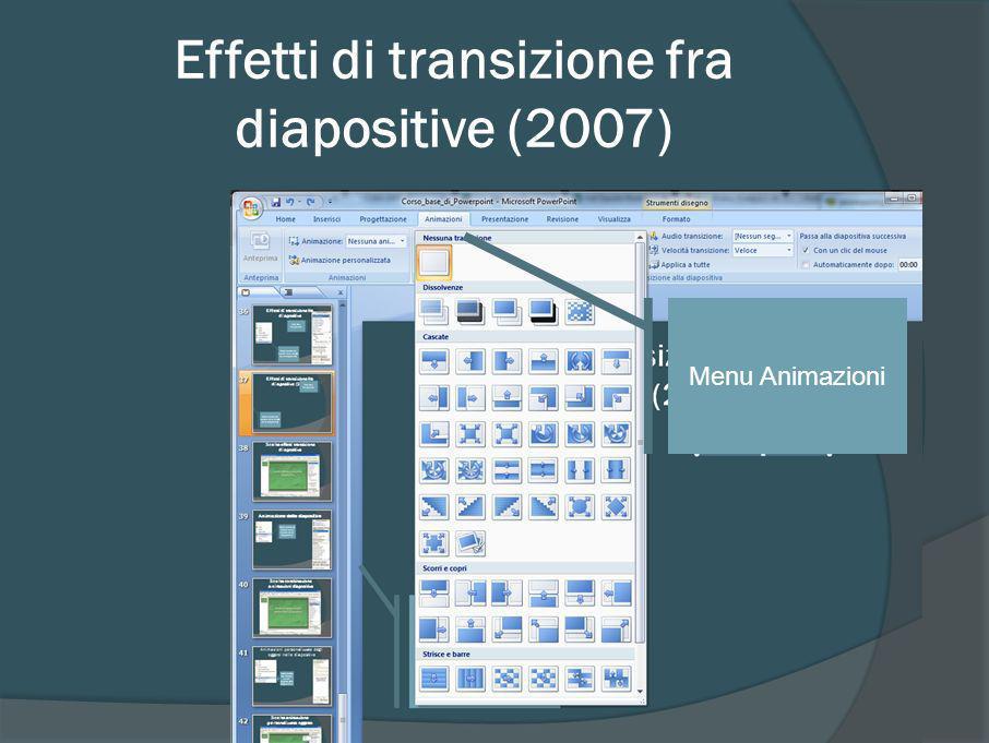Scelta combinazione animazioni diapositiva