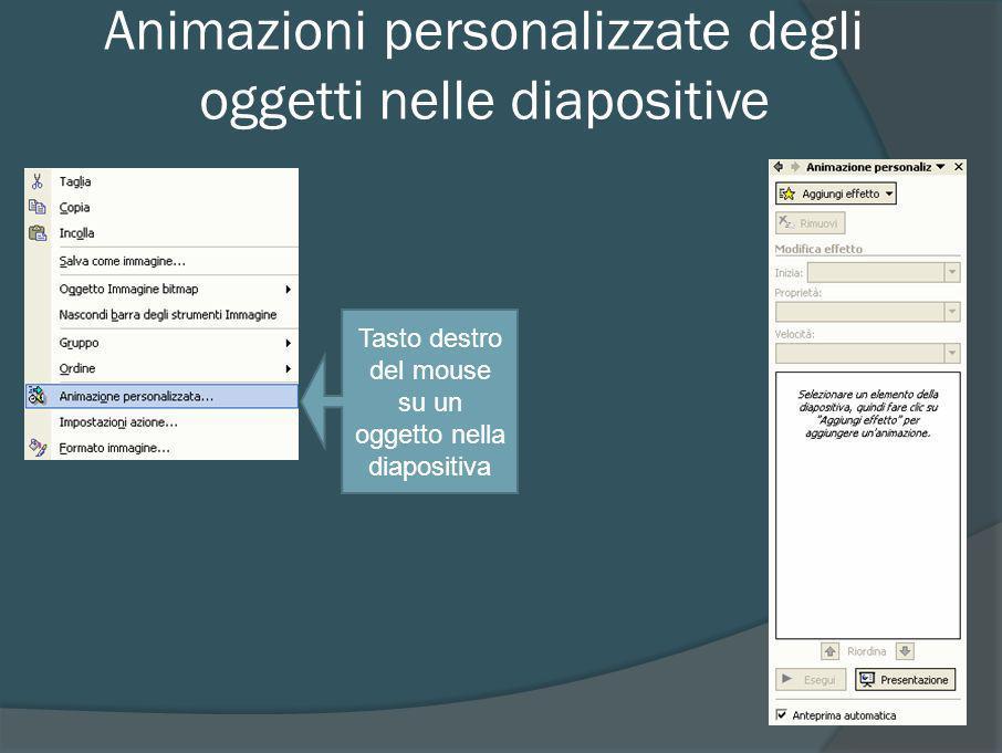 Scelta animazione personalizzata oggetto