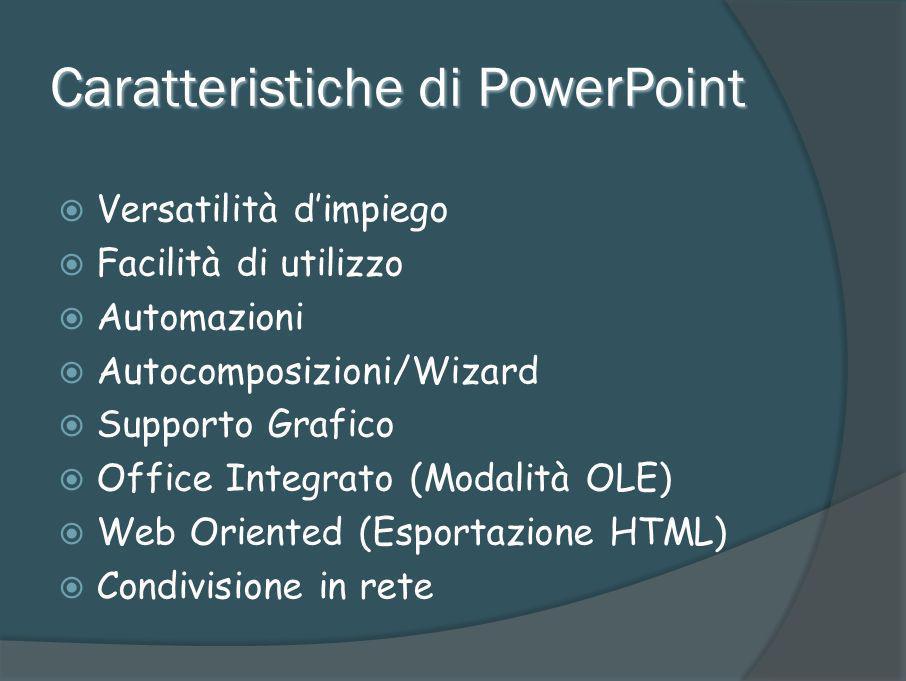Preparazione della presentazione Slide/Lucidi Schemi/layout diapositive Effetti di transazione diapositive Animazioni Temporizzazioni Note Formato della presentazione Stampa