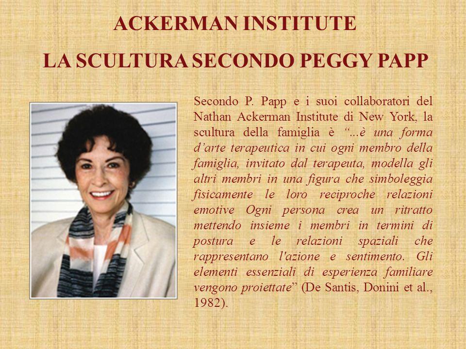 ACKERMAN INSTITUTE LA SCULTURA SECONDO PEGGY PAPP Secondo P. Papp e i suoi collaboratori del Nathan Ackerman Institute di New York, la scultura della