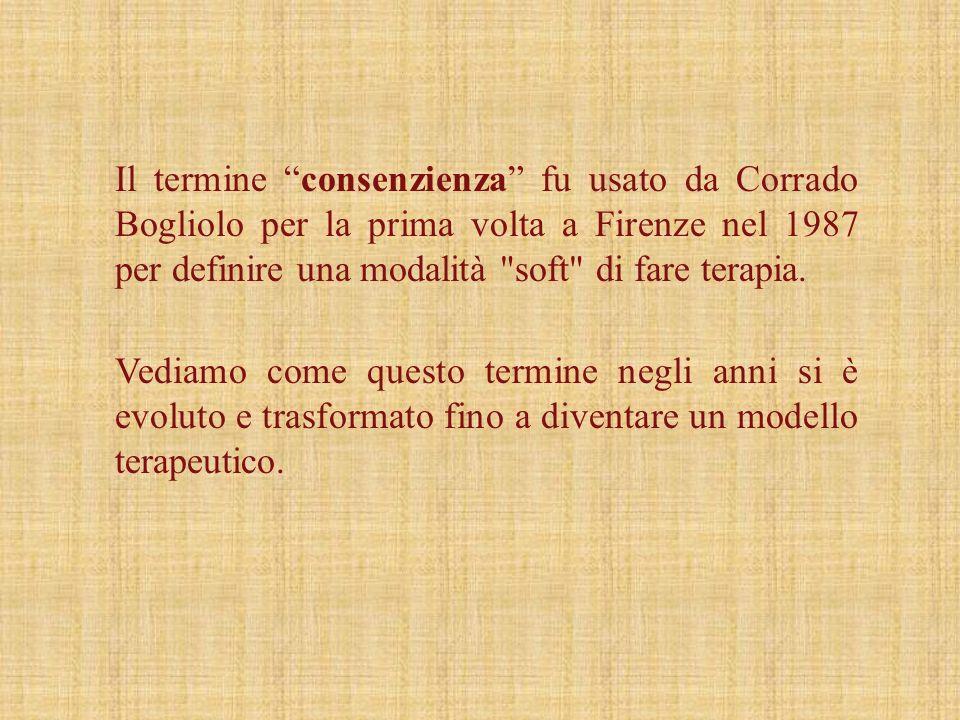 Il termine consenzienza fu usato da Corrado Bogliolo per la prima volta a Firenze nel 1987 per definire una modalità