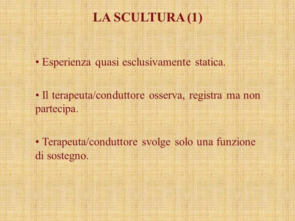 LA SCULTURA (1) Esperienza quasi esclusivamente statica. Il terapeuta/conduttore osserva, registra ma non partecipa. Terapeuta/conduttore svolge solo