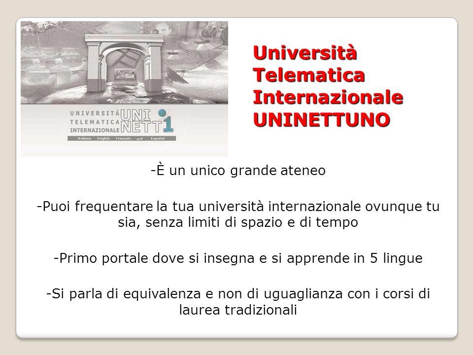 Università Telematica Internazionale UNINETTUNO -È un unico grande ateneo -Puoi frequentare la tua università internazionale ovunque tu sia, senza limiti di spazio e di tempo -Primo portale dove si insegna e si apprende in 5 lingue -Si parla di equivalenza e non di uguaglianza con i corsi di laurea tradizionali