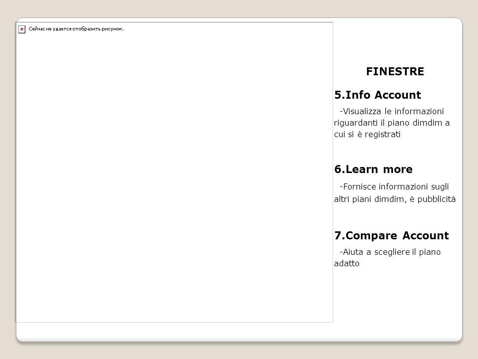 FINESTRE 5.Info Account -Visualizza le informazioni riguardanti il piano dimdim a cui si è registrati 6.Learn more -Fornisce informazioni sugli altri piani dimdim, è pubblicità 7.Compare Account -Aiuta a scegliere il piano adatto