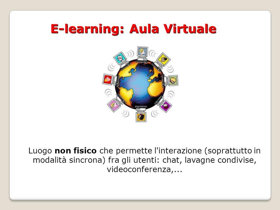 E-learning: Aula Virtuale Luogo non fisico che permette l interazione (soprattutto in modalità sincrona) fra gli utenti: chat, lavagne condivise, videoconferenza,...