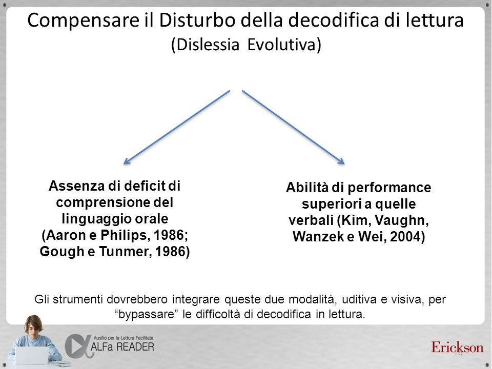 Assenza di deficit di comprensione del linguaggio orale (Aaron e Philips, 1986; Gough e Tunmer, 1986) Abilità di performance superiori a quelle verbal