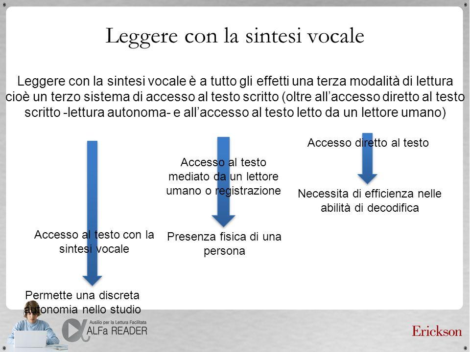Leggere con la sintesi vocale Leggere con la sintesi vocale è a tutto gli effetti una terza modalità di lettura cioè un terzo sistema di accesso al te
