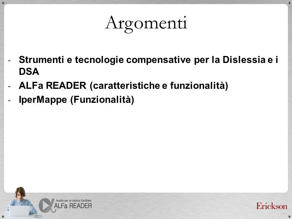 Argomenti - Strumenti e tecnologie compensative per la Dislessia e i DSA - ALFa READER (caratteristiche e funzionalità) - IperMappe (Funzionalità)