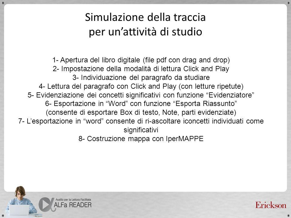 Simulazione della traccia per unattività di studio 1- Apertura del libro digitale (file pdf con drag and drop) 2- Impostazione della modalità di lettu