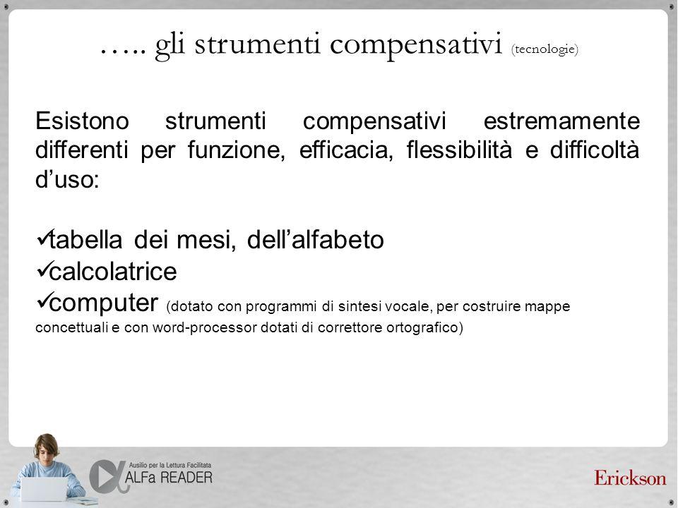 ….. gli strumenti compensativi (tecnologie) Esistono strumenti compensativi estremamente differenti per funzione, efficacia, flessibilità e difficoltà
