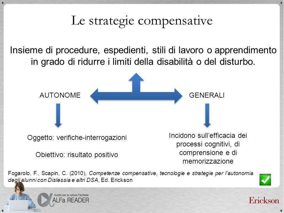 Le strategie compensative Insieme di procedure, espedienti, stili di lavoro o apprendimento in grado di ridurre i limiti della disabilità o del distur