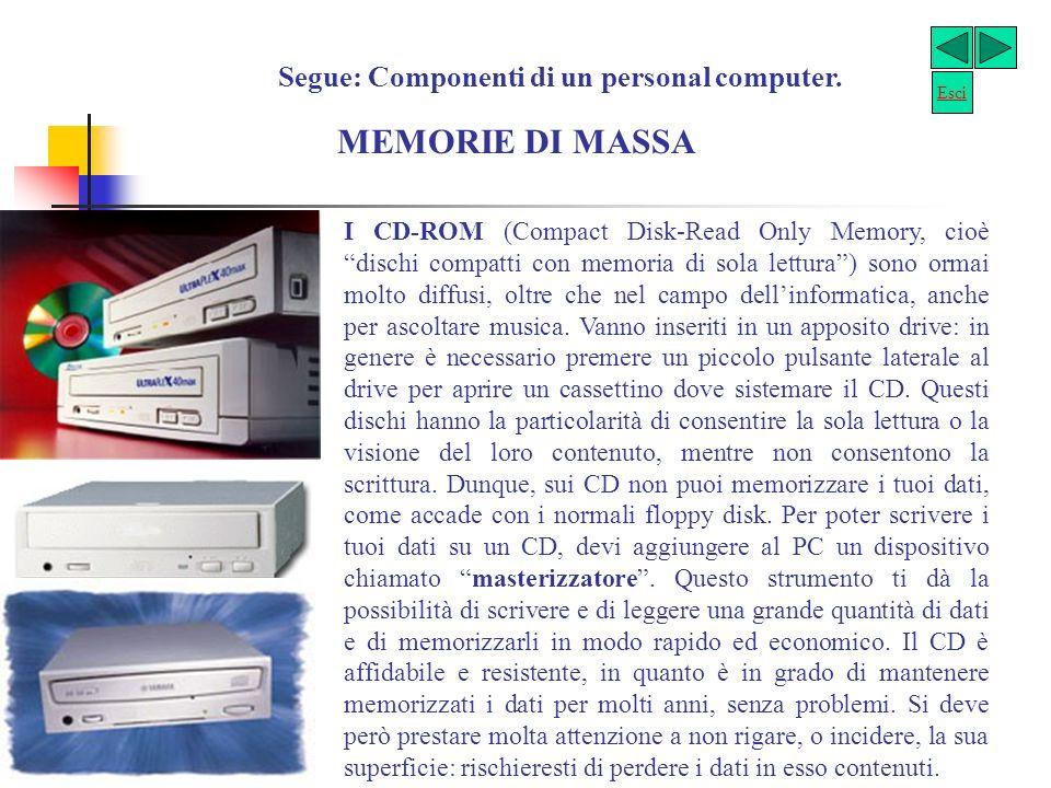 Segue: Componenti di un personal computer. MEMORIE DI MASSA Le memorie di massa risiedono sul disco fisso e su dischetti flessibili. Il disco fisso (h