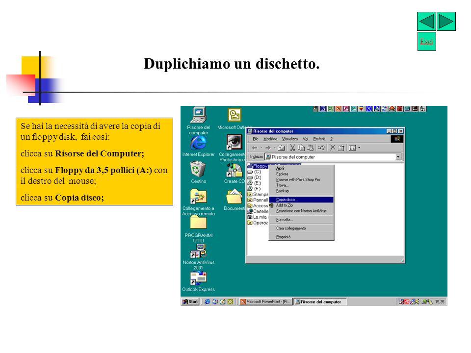 Formattiamo un dischetto La formattazione di un dischetto (floppy disk) elimina tutti i file in esso contenuti: clicca sullicona Risorse del Computer; introduci il dischetto nel drive A:; clicca su Floppy 3,5 pollici (A:); clicca con il tasto destro del mouse sulla voce Floppy da 3,5 pollici (A:): clicca su Formatta: appare una finestra; controlla che, nella casella Capacità, la dimensione (1,44 Mb) sia idonea al tuo dischetto, altrimenti scegli, facendo scorrere la freccia di lato, laltra proposta; clicca su Avvio, per procedere alla formattazione del dischetto.