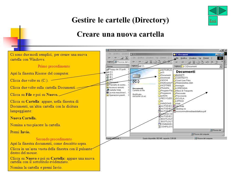 Esploriamo le risorse del computer Visualizza il contenuto di un floppy disk inserito nellunità (A:) Visualizza il contenuto del disco rigido.