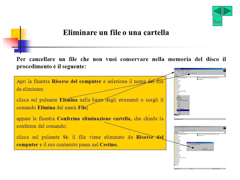 Copiare un file in unaltra cartella Il procedimento per effettuare tale operazione è il seguente: Apri la finestra Risorse del computer, seguendo il procedimento descritto in precedenza; clicca sul nome del File da copiare; clicca sul comando Modifica e poi su Copia.