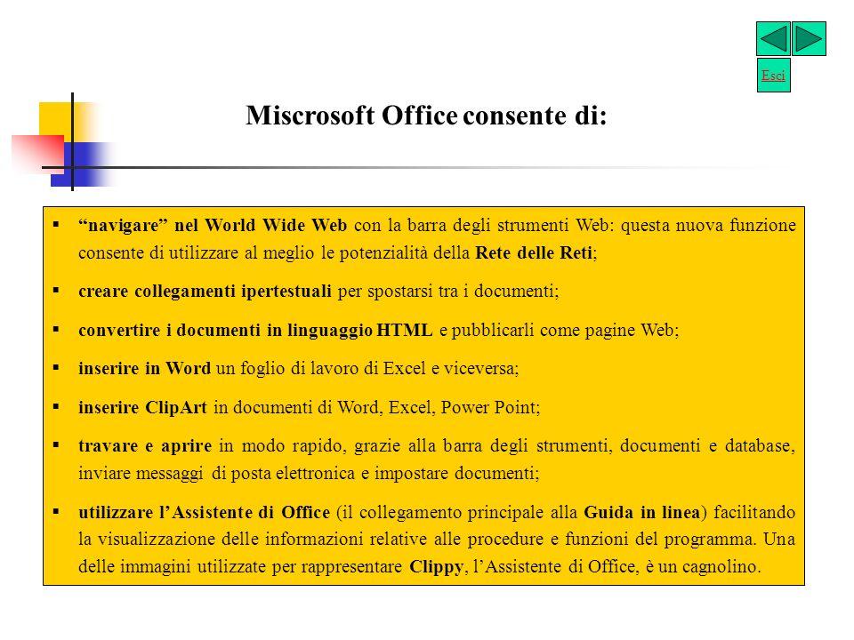 Microsoft Office Microsoft Office è un gruppo di programmi progettati per facilitare la condivisione delle informazioni. Office usa il sistema operati