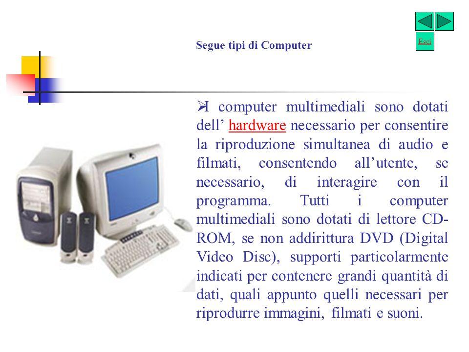 Tipi di computer Il personal computer (PC) è il computer nella sua forma più comune, come siamo abituati generalmente a pensarlo: si tratta cioè dello