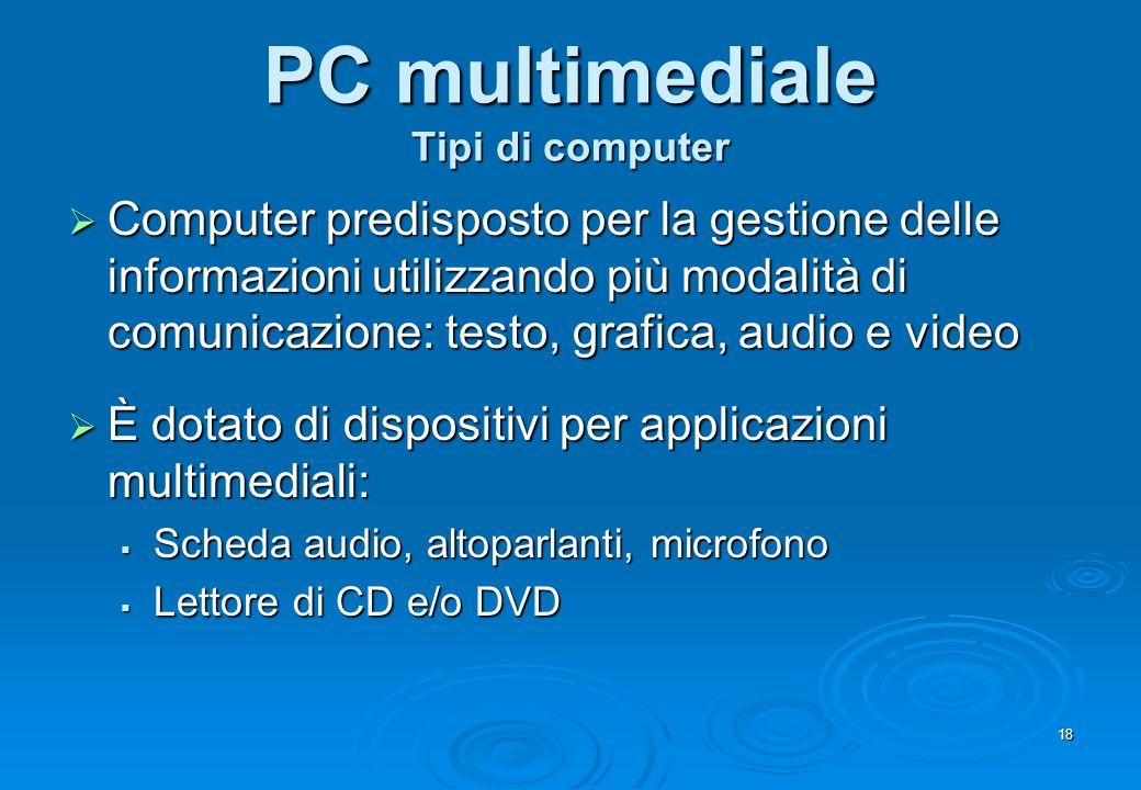 18 PC multimediale Tipi di computer Computer predisposto per la gestione delle informazioni utilizzando più modalità di comunicazione: testo, grafica,