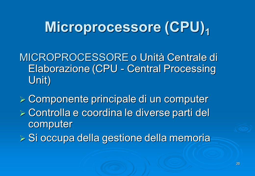 20 Microprocessore (CPU) 1 MICROPROCESSORE o Unità Centrale di Elaborazione (CPU - Central Processing Unit) Componente principale di un computer Compo