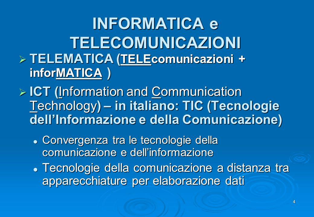 4 INFORMATICA e TELECOMUNICAZIONI TELEMATICA ( TELEcomunicazioni + inforMATICA ) TELEMATICA ( TELEcomunicazioni + inforMATICA ) ICT (Information and C