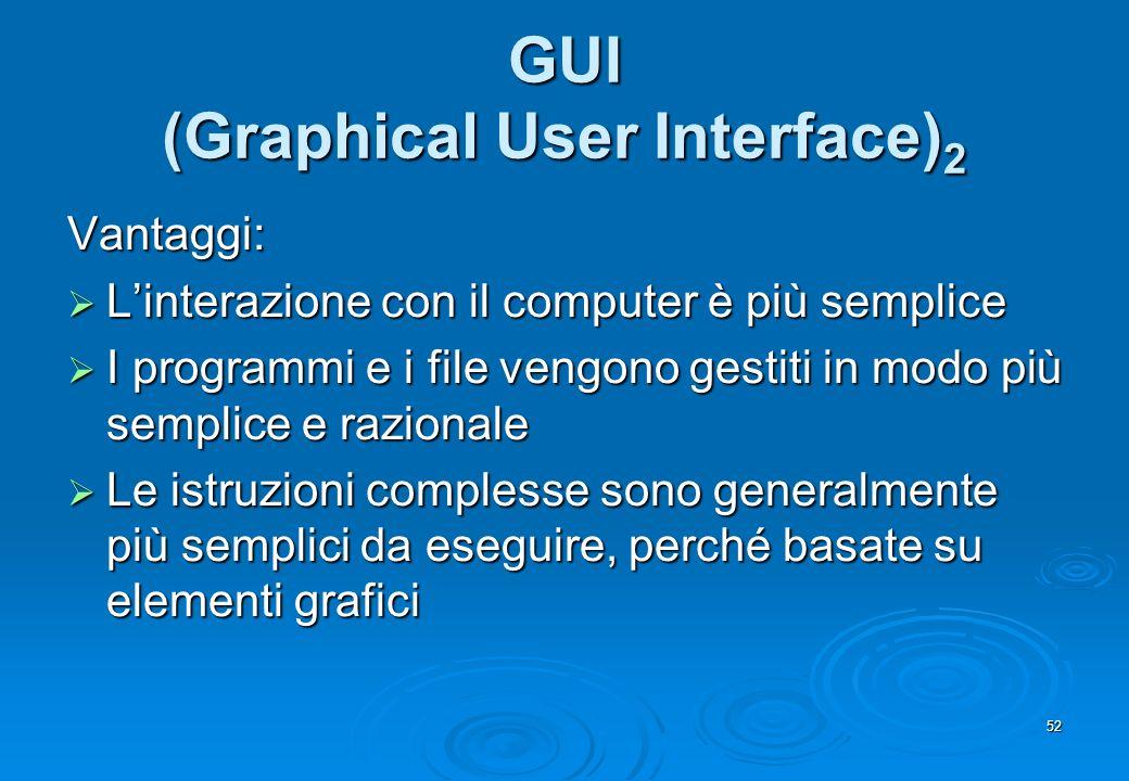 52 GUI (Graphical User Interface) 2 Vantaggi: Linterazione con il computer è più semplice Linterazione con il computer è più semplice I programmi e i