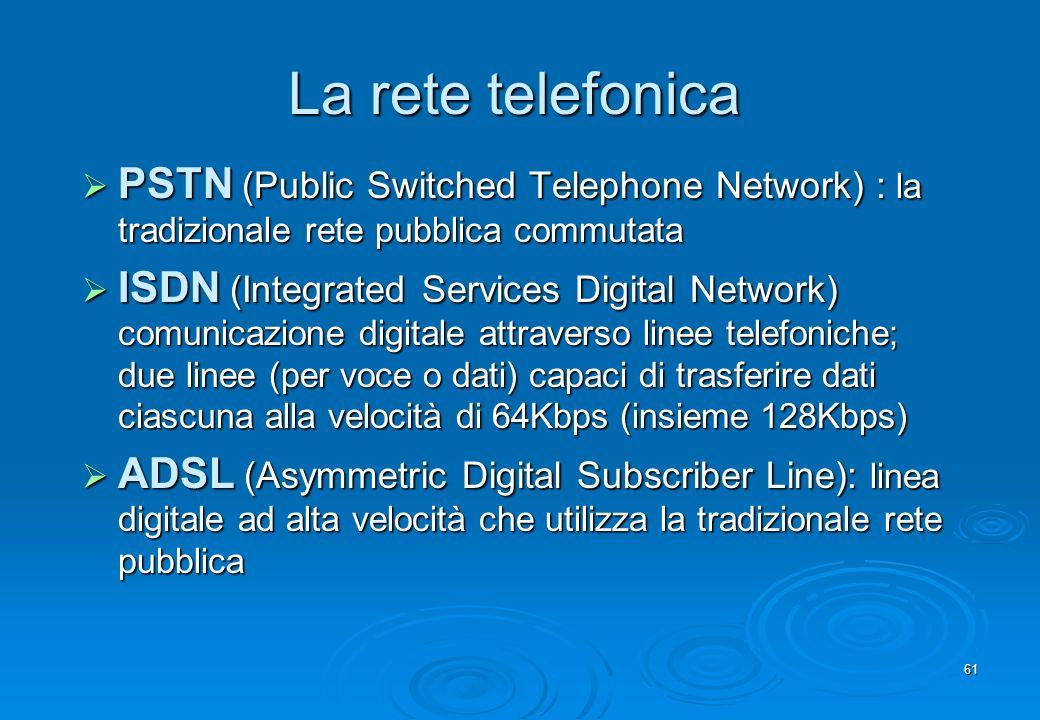 61 La rete telefonica PSTN (Public Switched Telephone Network) : la tradizionale rete pubblica commutata PSTN (Public Switched Telephone Network) : la
