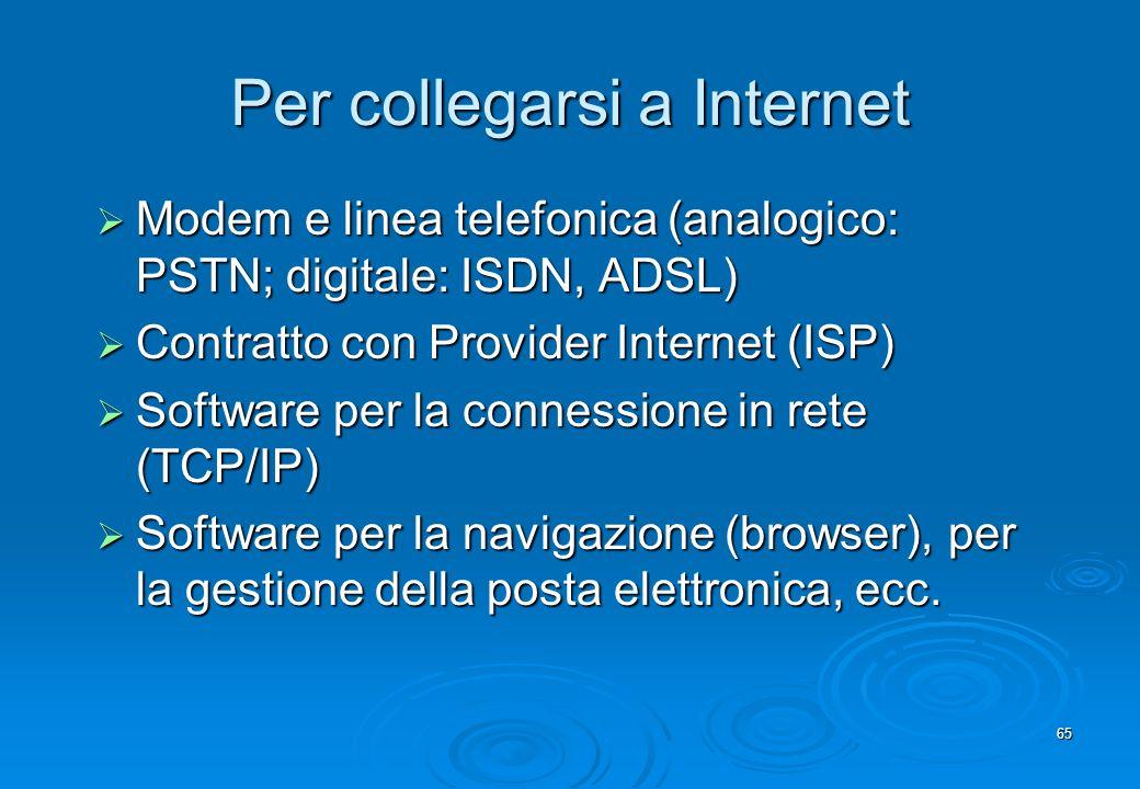 65 Per collegarsi a Internet Modem e linea telefonica (analogico: PSTN; digitale: ISDN, ADSL) Modem e linea telefonica (analogico: PSTN; digitale: ISD