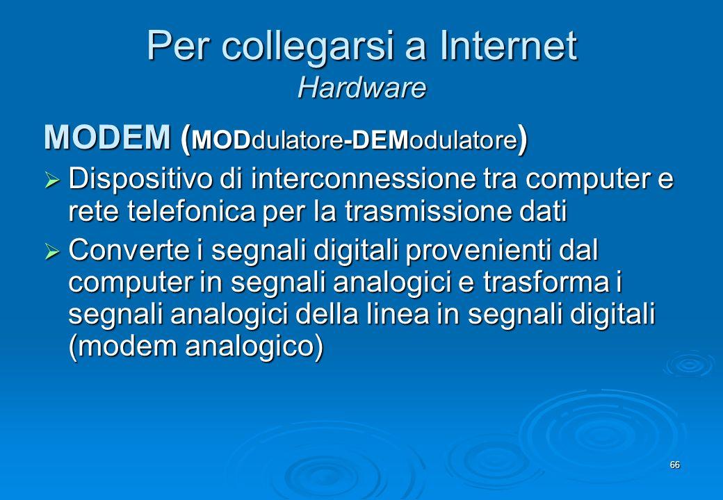 66 Per collegarsi a Internet Hardware MODEM ( MODdulatore-DEModulatore ) Dispositivo di interconnessione tra computer e rete telefonica per la trasmis